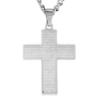 Stainless Steel Lords Prayer Cross Necklace   14773375