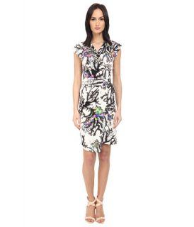 Just Cavalli Opticoral Print Jersey Cap Sleeve Dress