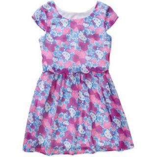 Hello Kitty Girls' Cap Sleeve Popover Chiffon Dress