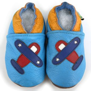 Airplane Soft Sole Blue Leather Baby Shoes   14173418