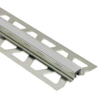 Schluter Dilex KSN Stainless Steel with Classic Grey Insert 1 in. x 8 ft. 2 1/2 in. Metal Movement Joint Tile Edging Trim EKSN250PG