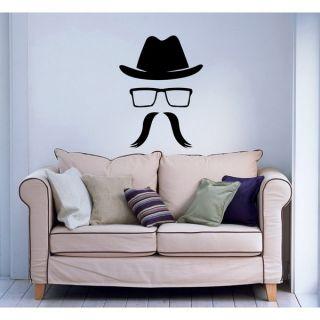 Moustache Hipster Glasses Vinyl Sticker Wall Art   17510589