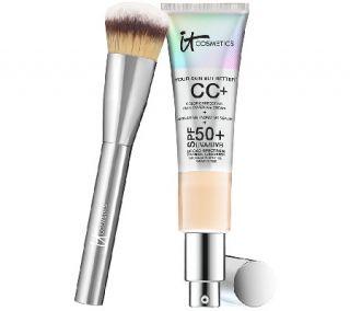 IT Cosmetics Full Coverage Physical SPF 50 CC Cream with Plush Brush —