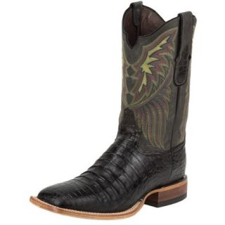 Tony Lama Western Boots Mens Vintage Leather Caiman Belly Black 6073