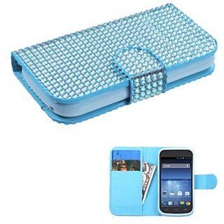 Insten Book Style MyJacket Wallet For ZTE Z730 Concord II, Light Blue Diamonds