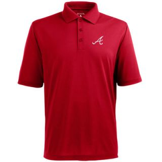 Atlanta Braves Antigua Desert Dry Xtra Lite Polo   Red