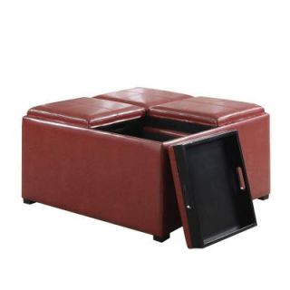 Simpli Home Avalon Faux Leather 1 Piece Coffee Table Storage Ottoman in Radicchio Red AY F 07 RRD