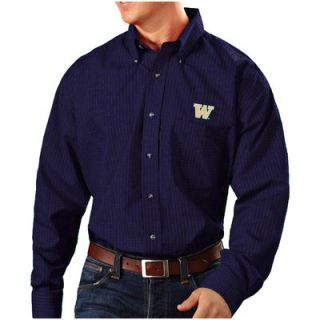 Washington Huskies Antigua Esteem Woven Button Down Long Sleeve Shirt   Purple