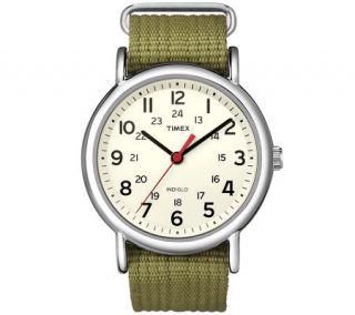 Timex Mens Olive Green Weekender Watch —
