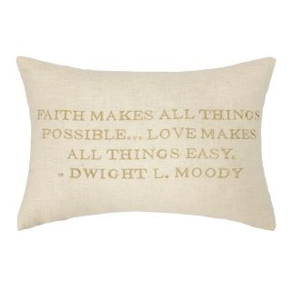 Moody Quote Embroidered Decorative Linen Lumbar Pillow by D.L. Rhein