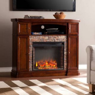 """Southern Enterprises Monfort Electric Media Fireplace Console,for TV's up to 46"""", Espresso w/Durango Faux Stone"""