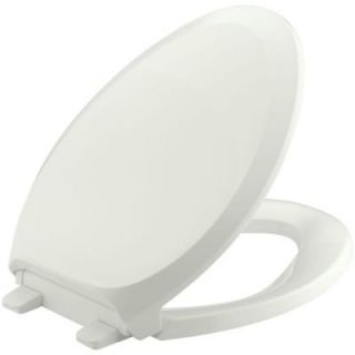 KOHLER French Curve Quiet Close Elongated Closed Front Toilet Seat with Grip Tight Bumpers in Dune K 4713 NY
