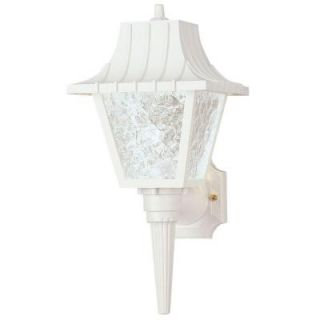Westinghouse 1 Light White Exterior Wall Lantern with Removable Tail Hi Impact Polycarbonate and Clear Textured Acrylic 6694600
