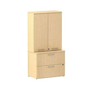 Bush Business 300 Series 36W 2 Drawer Lateral File with 36W Tall Wardrobe Storage, Natural Maple