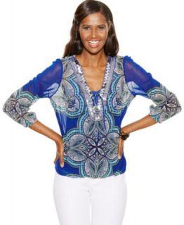 Karen Scott Petite Short Sleeve Bandana Print Peasant Top   Tops