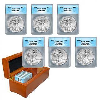 2010 2015 MS70 ANACS 6 piece Silver Eagle Dollar Set   8239471