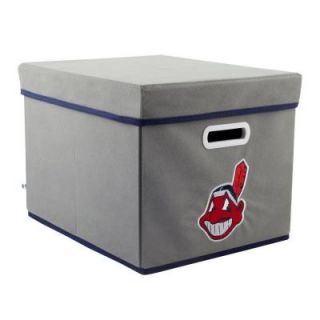 MyOwnersBox MLB STACKITS Cleveland Indians 12 in. x 10 in. x 15 in. Stackable Grey Fabric Storage Cube 12200CLE