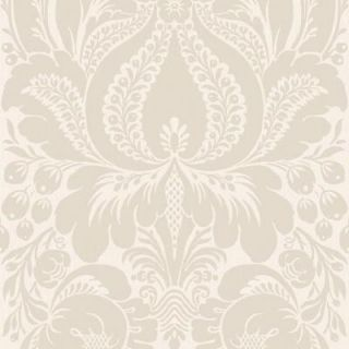 The Wallpaper Company 56 sq. ft. Greige Large Scale Damask Wallpaper WC1281855
