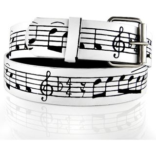 Iced Out Gear Mens Black Music Notes Leather Belt   11957108