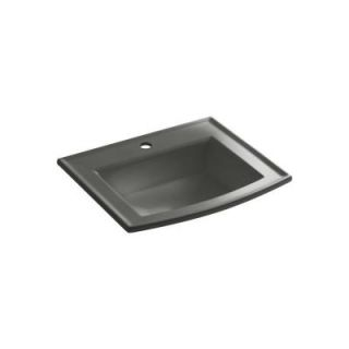 KOHLER Archer Drop In Vitreous China Bathroom Sink in Thunder Grey with Overflow Drain K 2356 1 58