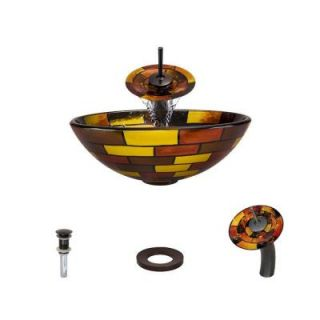 MR Direct Glass Vessel Sink in Stained Glass with Waterfall Faucet and Pop Up Drain in Oil Rubbed Bronze 621 WF ORB ENS