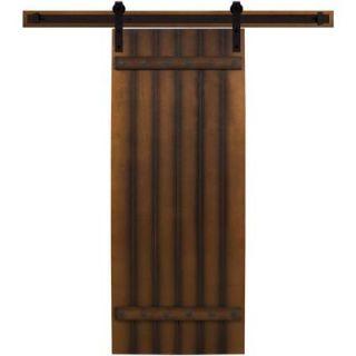 Steves & Sons 36 in. x 90 in. Tuscan I Stained Hardwood Interior Barn Door with Sliding Door Hardware Kit BDT1FHW CTBK 36SLB