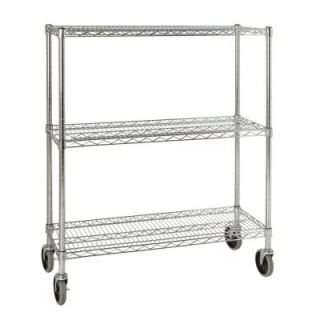 Rubbermaid Commercial Products ProSave 48 3/10 in. H x 38 in. W x 14 in. D 3 Shelf Wheeled Mobile Rack for Shelf Ingredient Bins FG9G7900CHRM