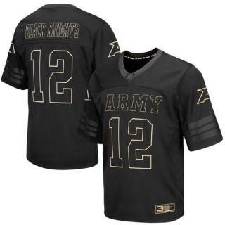 Colosseum #12 Army Black Knights Black Blackout Football Jersey