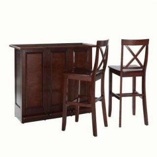 Crosley 48 3/4 in. W Mobile Folding Bar with Two 30 in. X Back Bar Stools in Mahogany KF400033MA