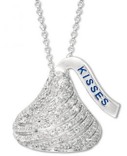 Diamond Hersheys Kiss Pendant Necklace in Sterling Silver (1/8 ct. t
