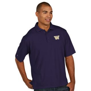Washington Huskies Antigua Mens Pique Xtra Lite Polo   Purple