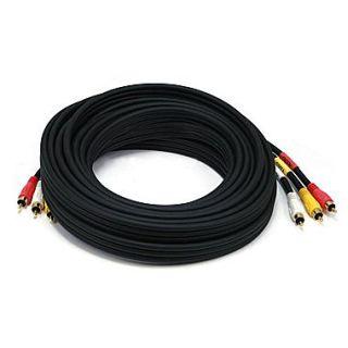 Monoprice 25 Triple RCA Stereo Video Dubbing Composite Cable, Black