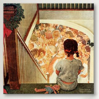 iCanvas Little Girl Looking Downstairs at Christmas Part by Norman