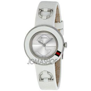Gucci U Play Silver Dial White Leather Strap Ladies Watch YA129509   U