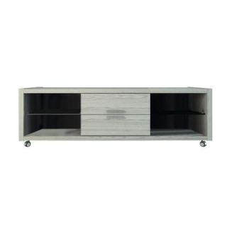 Manhattan Comfort Belvedere 1.0 4 Shelf 2 Drawer TV Stand in Nature White/Pro Touch 15223