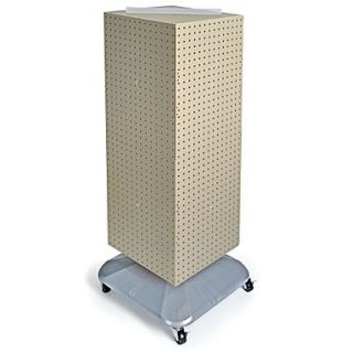 Azar Displays 40(H) x 14(W) x 14(D) 4 Sided Interlocking Pegboard Floor Display With Wheels, Almond