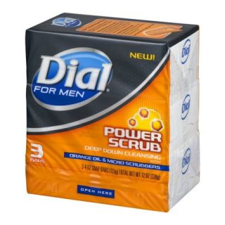 Dial Power Scrub Bar Soap For Men, Orange Oil And Micro Scrubbers   4 Oz, 6 Pack