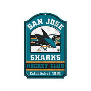 "NHL Team Logo 11"" x 17"" Antique Wood Finish Sign   San Jose Sharks   7800740"