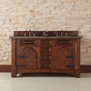 James Martin Furniture 450 V60D RAM TBR Marrakesh 60 Double Vanity in Relic Amber with Tropical Brown Stone Top   Vanity Top Included