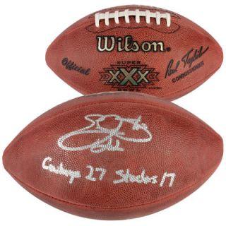 Emmitt Smith Dallas Cowboys  Authentic Autographed Super Bowl XXX Football with Cowboys 27 Steelers 17 Inscription