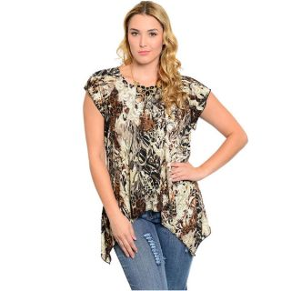 Shop The Trends Womens Plus Size Animal Print Short Sleeve Open