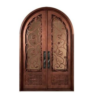 Iron Doors Unlimited 62 in. x 98 in. Fero Fiore Classic Center Arch Painted Bronze Decorative Wrought Iron Prehung Front Door IFF6298RRHT