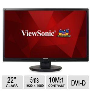 ViewSonic 22 Class LED Monitor   1920 x 1080, 10000000:1 Dynamic, 5ms, VGA, DVI D, Energy Star    VA2246M LED