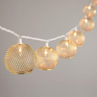 Gold Wire Globe 10 Bulb String Lights