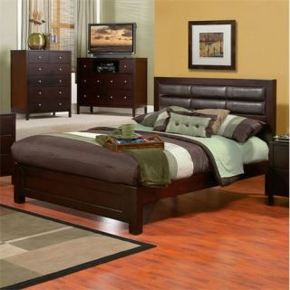 Alpine Furniture SK 21F Solana Full Platform Bed with Faux Leather Headboard in Cappuccino