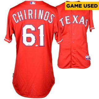 Robinson Chirinos Texas Rangers  Authentic 2015 Game Used Red #29 Jersey vs. Houston Astros on April 11, 2015