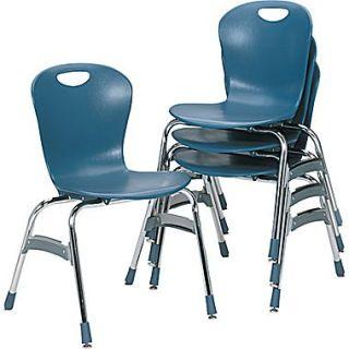 Virco  Plastic Ergonomic Stack Chair With 18 High Zuma Bucket Seat, Blueberry