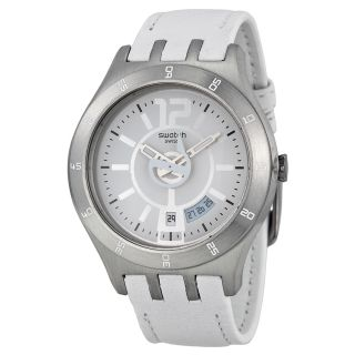 Swatch In Joyful Mode White Dial White Leather Mens Watch YTS401