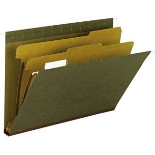 """Smead 2"""" Expansion 1/5 Tab Hanging File Folder with 2 Dividers, Letter, Box of 10"""