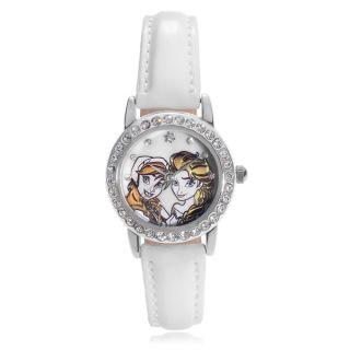 Disney Rhinestone Anna and Elsa Leather Strap Watch   17302168